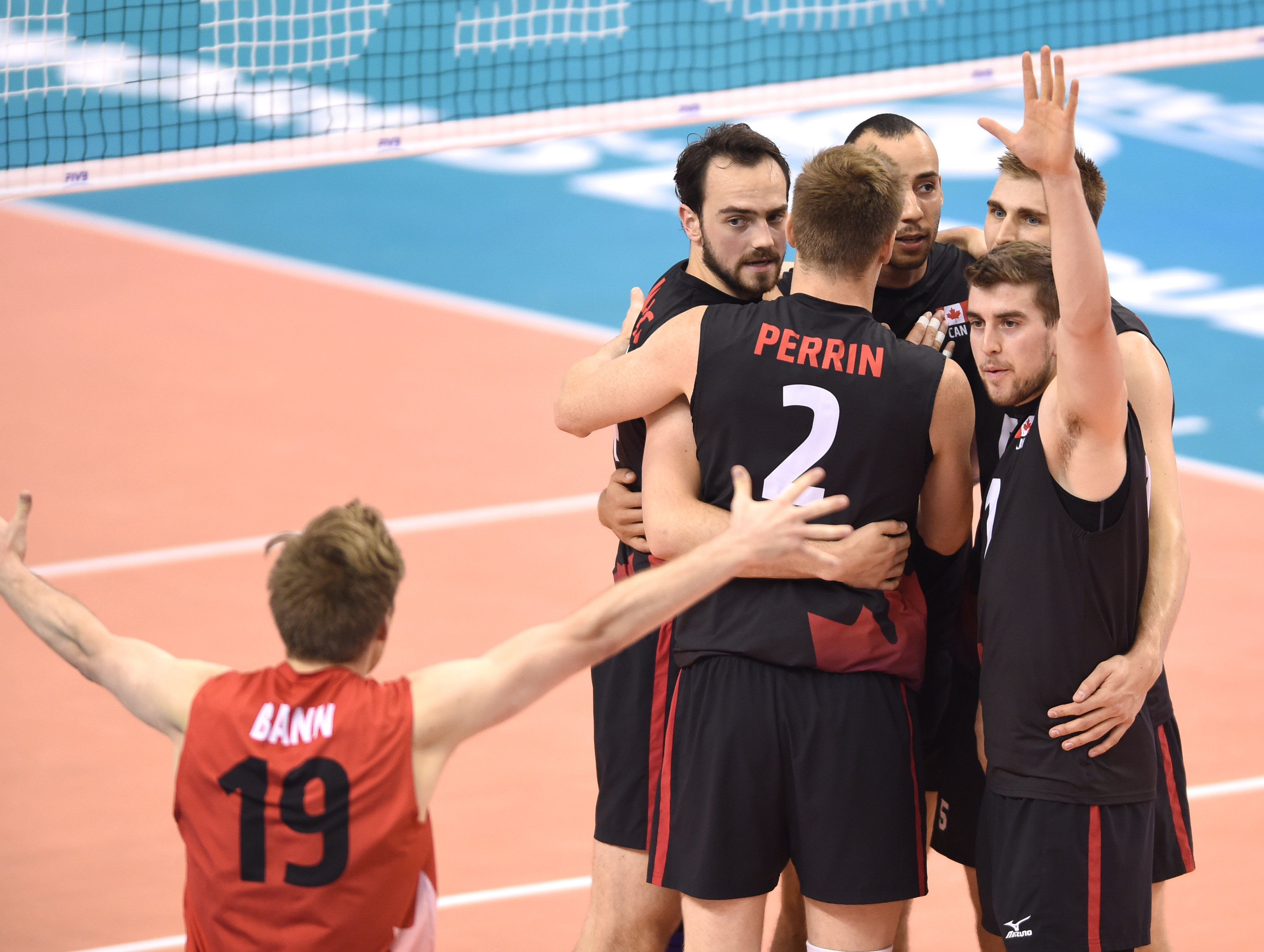 Canada players celebrating during the match against Turkey